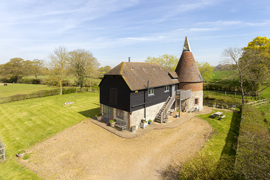 Overview of a Kent Oast House professionally photographed