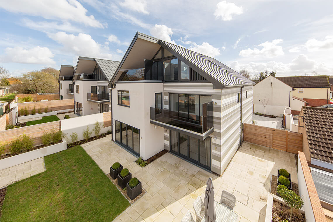 High up photograph of a detached house