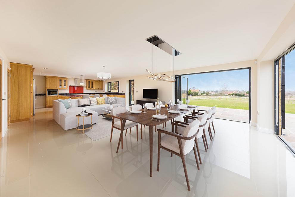 Digitally staged large open plan kitchen