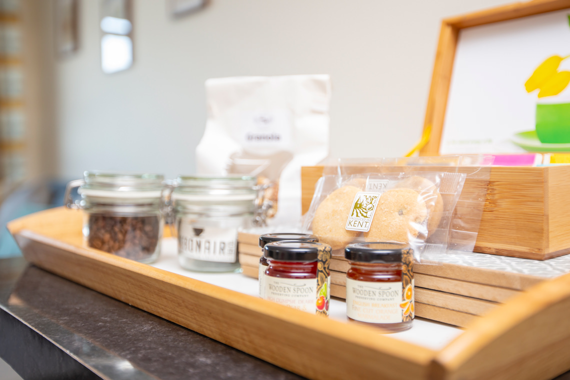 Close up photograph of a breakfast selection in a serviced apartment